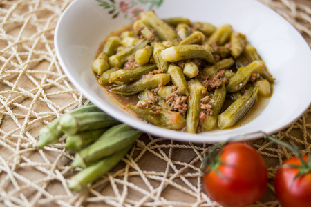 Bamya  Okra  Turkish traditional food with minced meat