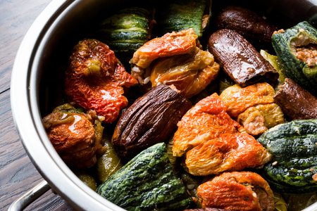 Turkish Dolma with Minced Meat Red pepper and Aubergine or Eggplant. Traditional Food.