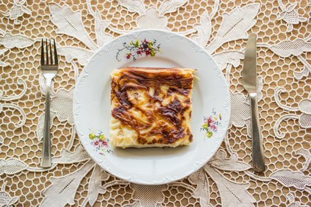 Turkish traditional food su boregi or borek with minced meat or cheese Stock Photo