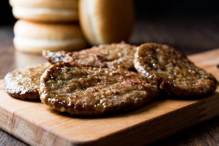 Hamburger Patties with Sandwich Bread. Fast Food.