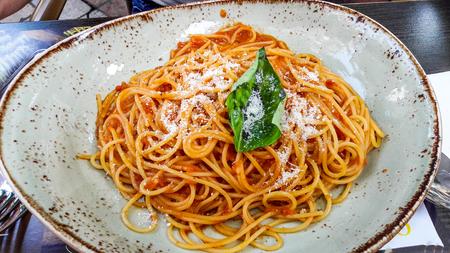 Pomodoro Spaghetti in big plate. italian food concept. Reklamní fotografie