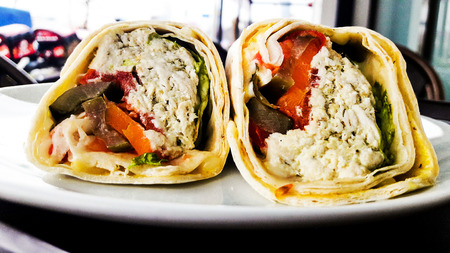 Chicken wrap sandwich Circassian  Cherkes or cerkez tavugu. fast food Stock Photo