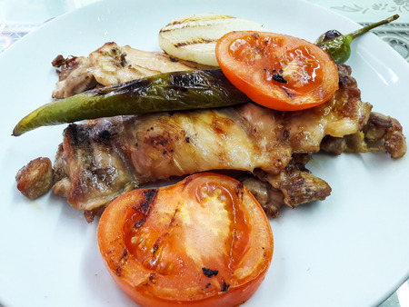 Turkish Grilled Chicken Kebab with Onions, Tomatoes and Pepper.  Kebap. Traditional Food. Stok Fotoğraf