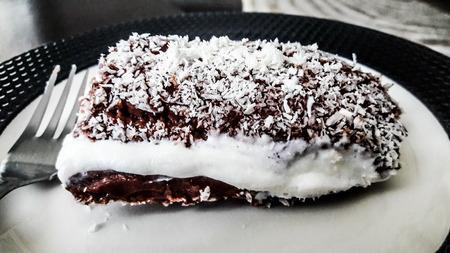 Turkish Dessert Saray Sarma  Chocolate pudding with cream and coconut powder. Traditional Turkish Dessert. Stok Fotoğraf