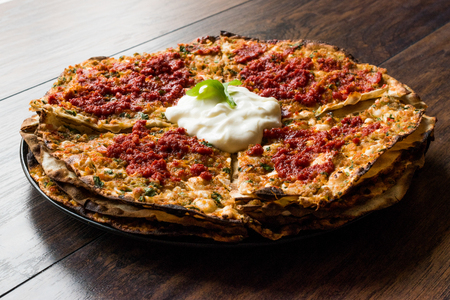 Kayseri Style Layers of Flat Bread Breads with Minced Meat and Yogurt Yaglama. Traditional food. Stock Photo