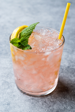 Pink Cocktail with Crushed Ice, Mint and Lemon. Beverage Concept. Stockfoto
