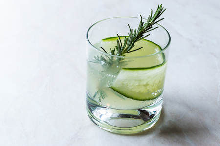 Rosemary Gin Gimlet Cocktail with Cucumber Slice. Beverage Concept. Stock Photo