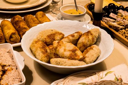 Boiled Kibbeh  Arabian stuffed meatballs  with sauce  haslama icli kofte at home Banco de Imagens