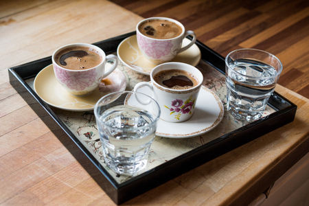 Turkish Coffee served with water in tray. Traditional Beverage.