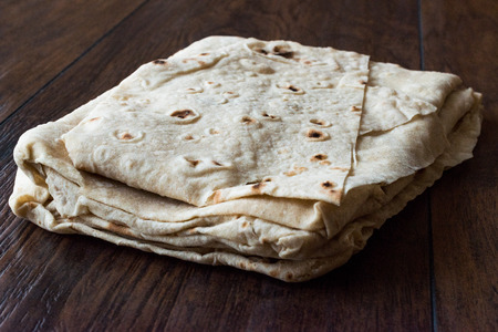 Turkish Lavash Durum Flat Bread for Gozleme or Traditional Wraps. Traditional Food.