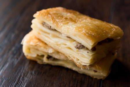 Turkish Borek Slices with Minced Meat. Traditional Food.