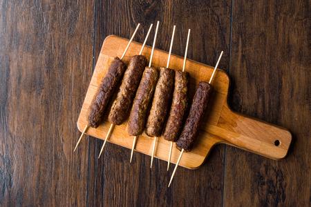 Balkan Cevapcici Kofta / Kofta with Wooden Skewers. Traditional Food. Stock fotó