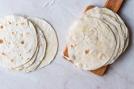 Homemade Mexican Tortillas for Tostada. Organic Food.