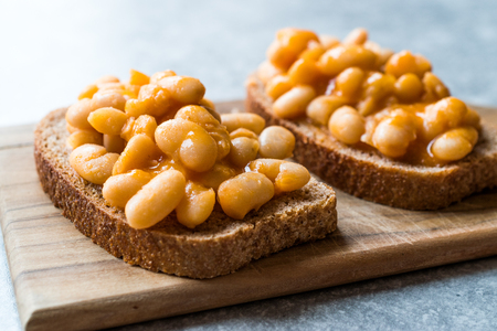 Baked Beans with Toast Bread. Traditional Food.