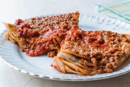 Turkish Food Kayseri Yaglama with Minced Meat, Yogurt and Tomato Paste. Traditional Food.