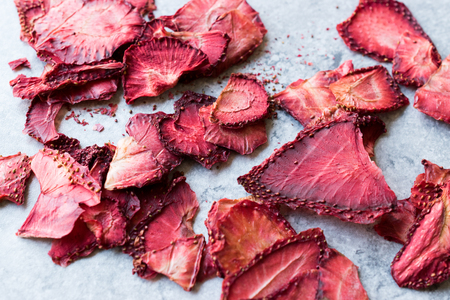 Dried Strawberry Slices Ready to Eat. Organic Food.