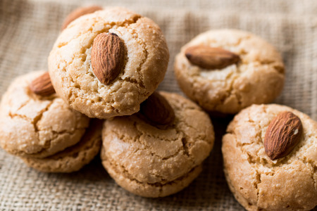 Turkish Almond Cookies on Sack  Acibadem Kurabiyesi. Bakery Concept