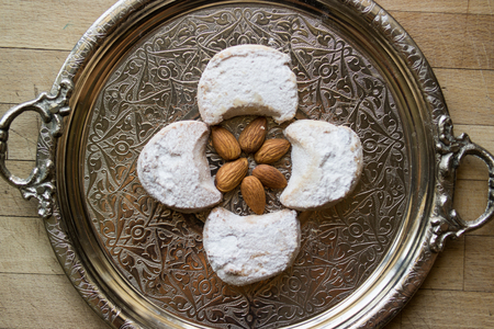 kavala cookies with almonds served in a silver tray. Stok Fotoğraf