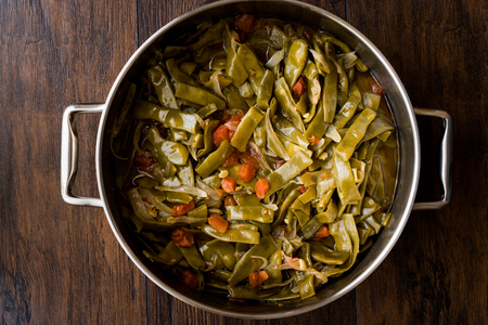 Turkish Green Beans with olive oil / Zeytinyagli Fasulye. Traditional Food. Stok Fotoğraf - 99793209