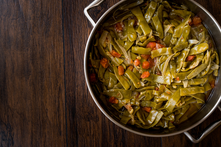 Turkish Green Beans with olive oil / Zeytinyagli Fasulye. Traditional Food. Stok Fotoğraf - 99792059