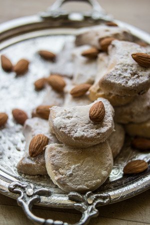 kavala cookies with almonds in silver tray