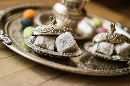 Turkish delight in silver tray. Stock Photo