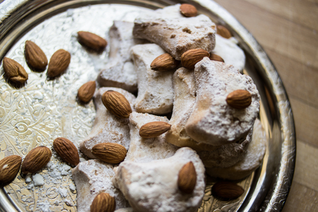 greece kavala cookies with almonds in silver tray Stok Fotoğraf