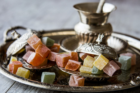 Turkish Delight is a family of confections based on a gel of starch and sugar. Stock Photo