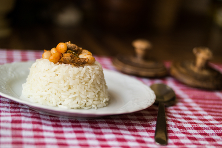 baked beans dried beans with rice or rice pilaf rice Stock Photo