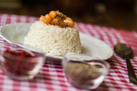 baked beans with rice or pilaf