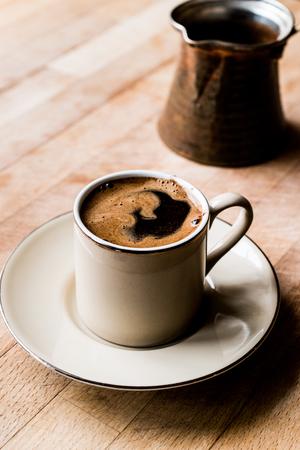 Turkish Coffee with Turkish Pot Cezve. Traditional Beverage