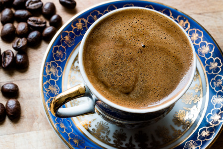 Traditional Turkish coffee with Beans. Organic Beverage.