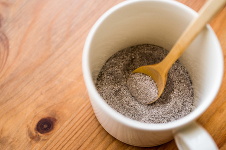 instant coffee powder 3 in 1; mixed with milk powder and sugar in a cup. Fast Food