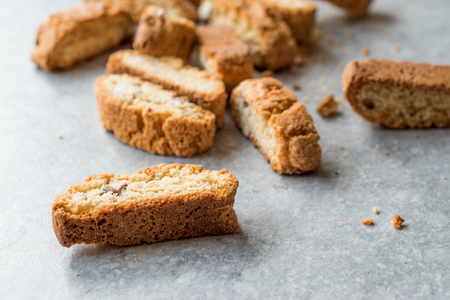 Biscotti / Cantuccini Cookie Biscuits with Almonds / Shortbread. Bakery Appetizer. Фото со стока