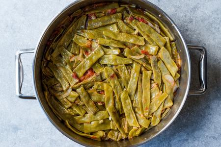 Turkish Cold Olive Oil Food Green Beans in Pot / Zeytinyagli Fasulye. Traditional Food. Stok Fotoğraf - 99902347