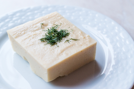 Turkish Appetizer Fava with dill and olive oil  Dry Bean Puree  Split Peas. Traditional Food.