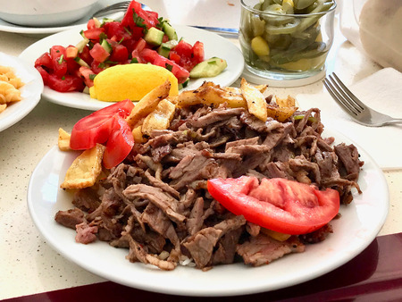 Turkish Meat Food Doner Kebab Portion / Kebap. Traditional Food.