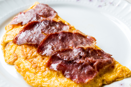 Turkish Pastirma or Pastrami with Omelette / Omlet for Breakfast. Ready to Eat.