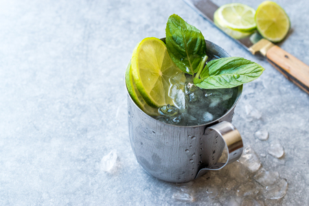 Moscow Mule Cocktail with Lime, Mint Leaves and Crushed Ice in Metal Cup. Summer Beverage. Stockfoto