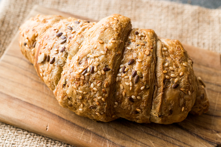 Whole Grain Gluten Free Rye Croissants with Kernel Seeds. Healthy bakery food.