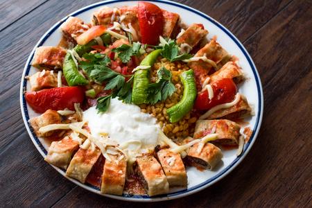 Turkish Food Beyti Kebap / Shawarma Kebab with Yogurt. Traditional Food with Minced Meat.