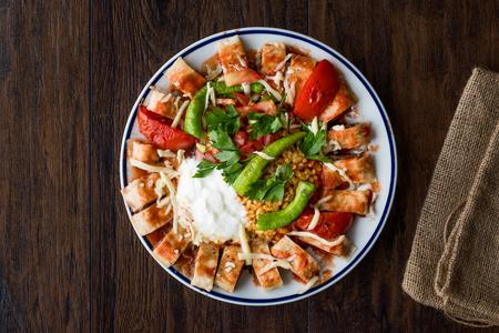 Turkish Food Beyti Kebap  Shawarma Kebab with Yogurt. Traditional Food with Minced Meat. Stockfoto