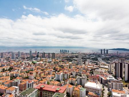 Aerial Drone View Of Unplanned Urbanization Istanbul Kartal Yakacik