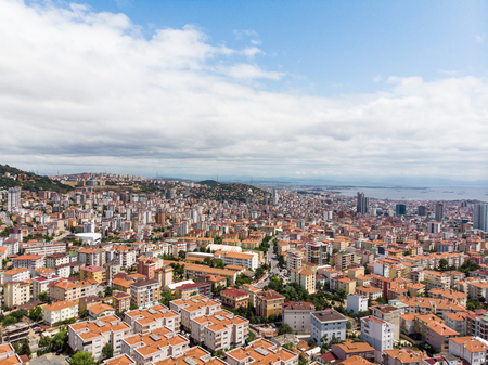 Aerial Drone View of Unplanned Urbanization Istanbul Kartal Yakacik. Cityscape.