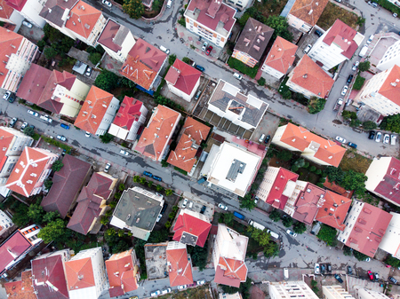 Aerial Drone View of Apartment Roof in the city Unplanned Urbanization Istanbul Kartal Yakacik. City Life