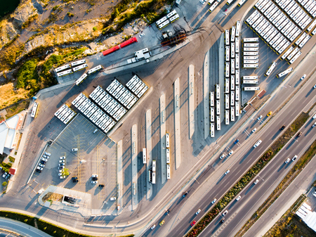 Aerial Drone View of Bus Station Next to Highway in Istanbul Kartal. City Life. Stock Photo