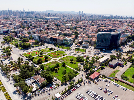 Istanbul, Turkey - May 23, 2018: Aerial Drone View of Kadikoy DoubleTree Hilton in Istanbul. Cityscape