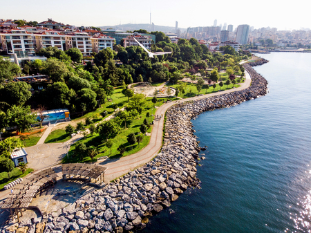 Aerial Drone View of Kadikoy Moda Seaside in Istanbul. Cityscape.