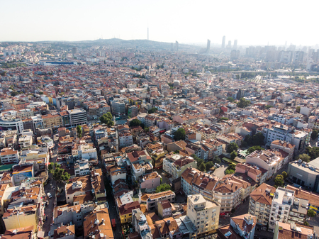 Istanbul, Turkey - May 23, 2018: Aerial Drone View of Unplanned Urbanization Istanbul Kadikoy. Cityscape Editorial
