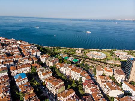Aerial Drone View of Unplanned Urbanization Istanbul Kadikoy Moda Seaside. Cityscape